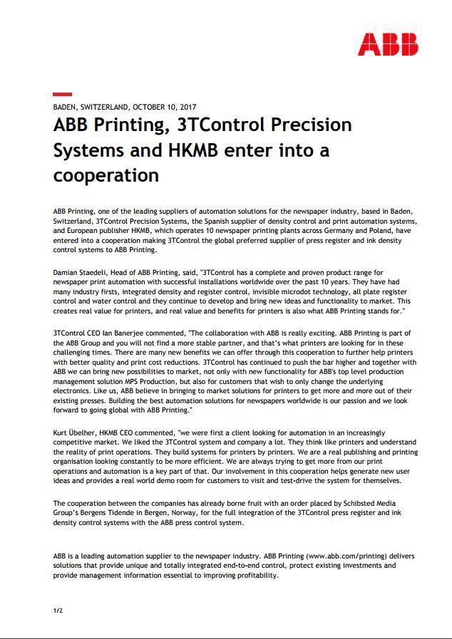 Samarbeidsavtale mellom ABB Printing, 3TControl og HKMB